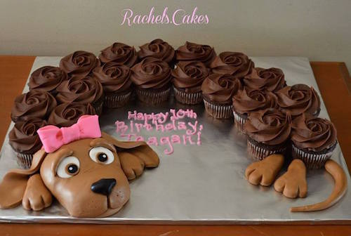 You can also use chocolate frosted cupcakes to make a puppy cake! My daughter would LOVE this!