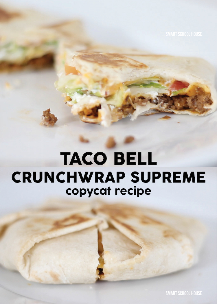 "Well, there's no hiding it. Taco Bell is definitely one of our ""go-to"" places when we are hungry and in a hurry. Today we decided to recreate one of our favorite recipes to order from the fast food restaurant. This DIY Taco Bell Crunchwrap recipe is SO good and so easy to make (that's a must!). I can't wait to show you how we did it."