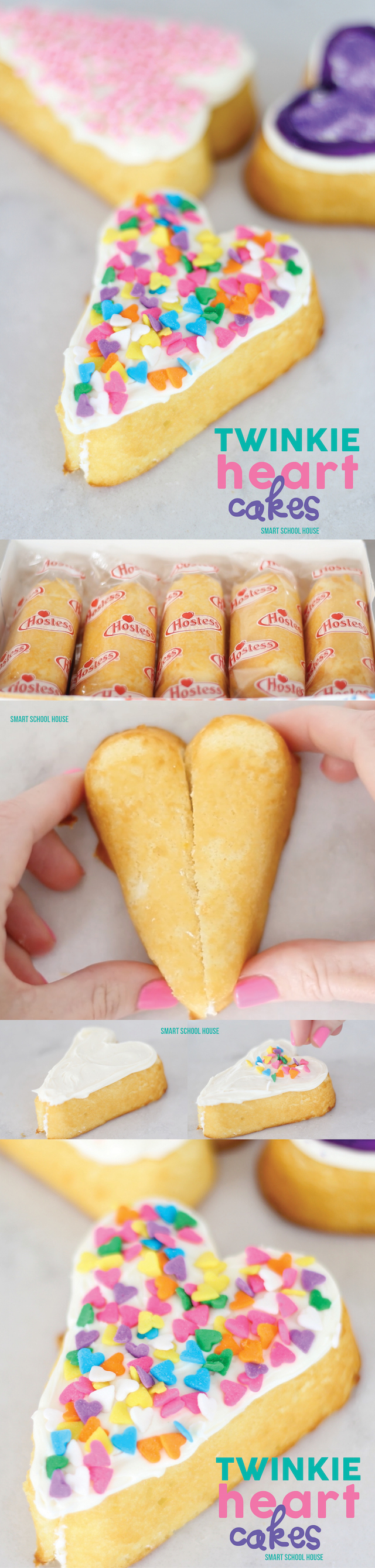 Twinkie Heart Cakes - How to make hearts using Twinkies. LOVE THIS!