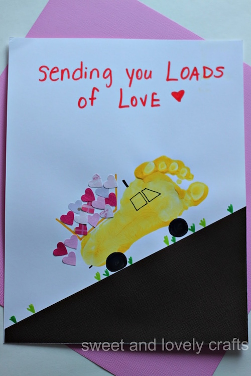Valentine's Day (or get well soon) footprint dump truck. Adorable!