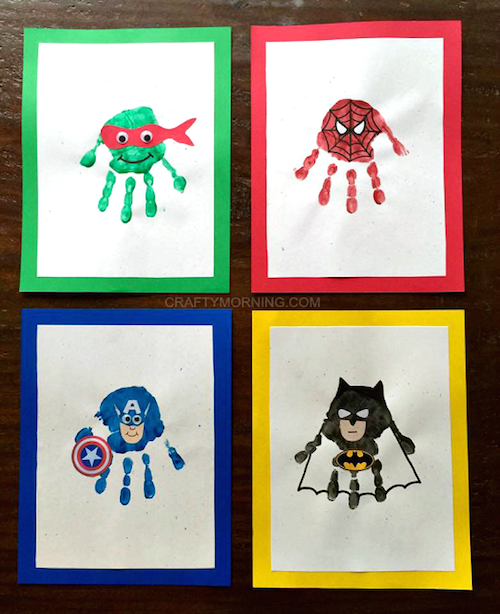 How to make Superhero Handprints with kids -