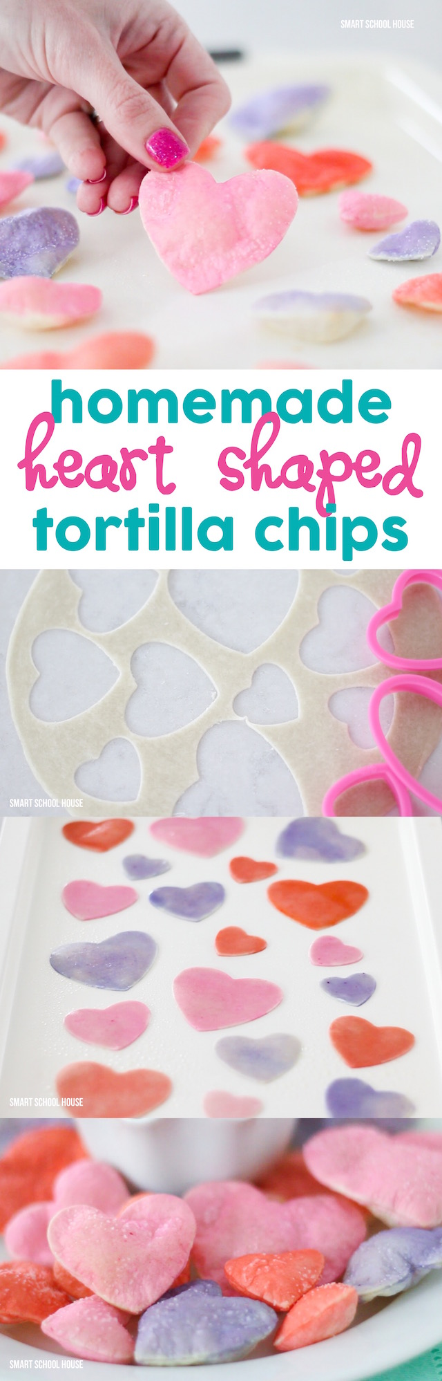 DIY Heart Shaped Tortilla Chips - for Valentine's Day. So colorful and so EASY to make! Must try- #ValentinesDay #ValentinesDayRecipe #ValentinesRecipe #ValentinesCraft #DIYValentinesDay