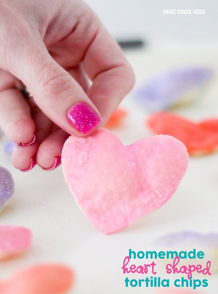 DIY Heart Shaped Tortilla Chips - for Valentine's Day. So colorful and so EASY to make! Must try-