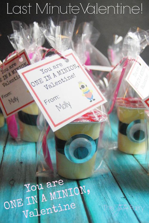 Minion Pudding Valentine! Super easy last minute idea.