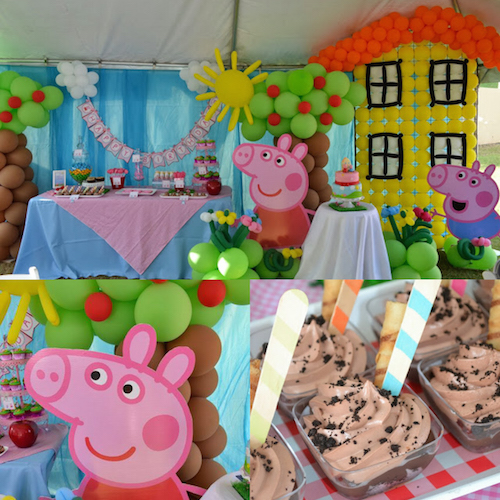 """Peppa Pig party ideas - I love that """"muddy puddles mousse"""" ."""