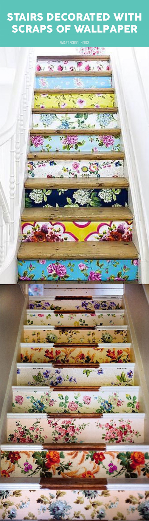 Wooden stairs decorated with scraps of wallpaper. WOW!