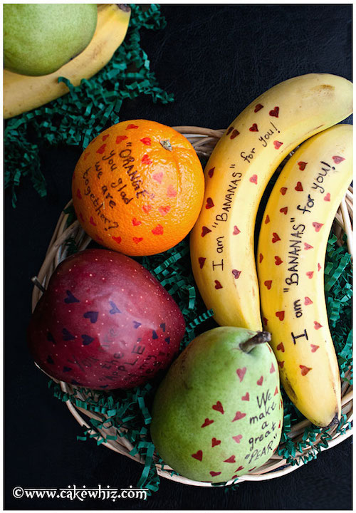 Messages written on fruit for Valentine's Day