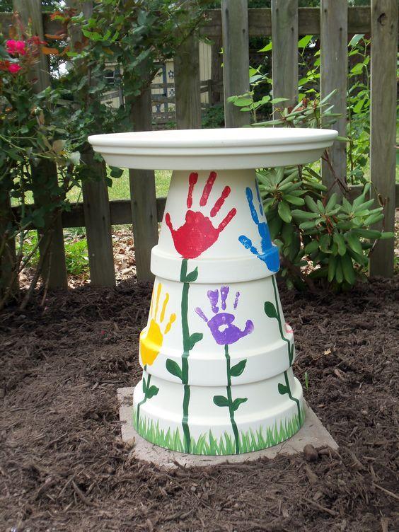 Homemade Flower Handprint Bird Bath
