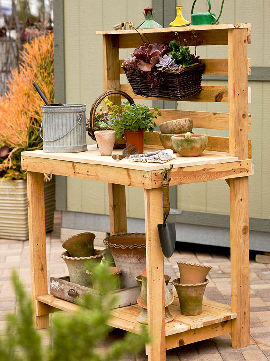 Homemade potting bench made with wood pallets