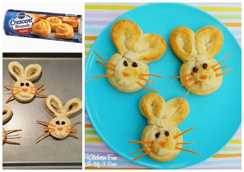 Easter Bunny Buns - made with crescent rounds. So easy! Must try!