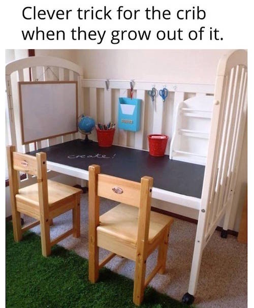 We have an extra crib! What a neat idea! (source unknown)