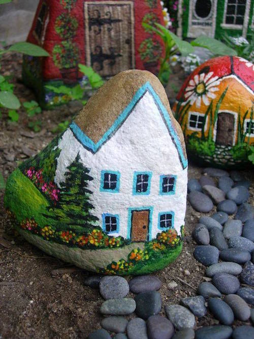 Pant a rock to make it look like a fairy house! What a fun idea for kids too. (source unknown)