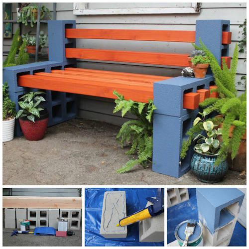 Use painted cinder blocks to make a custom bench in your yard. Neat idea!