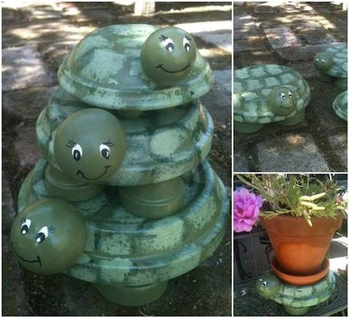 Paint adorable turtles with terra cotta pots. Neat!