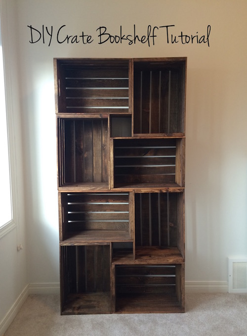 How to make a bookshelf out of crates - we've done something similar and we LOVE it!