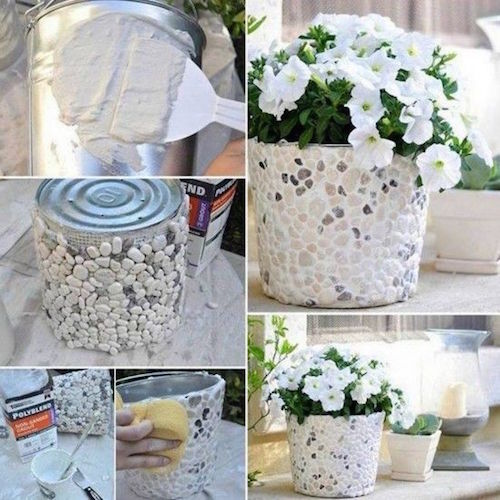 How To Make A Rock Covered Bucket Planter - great idea!