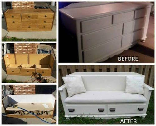 Turn an old dresser into a beautiful bench! How neat-