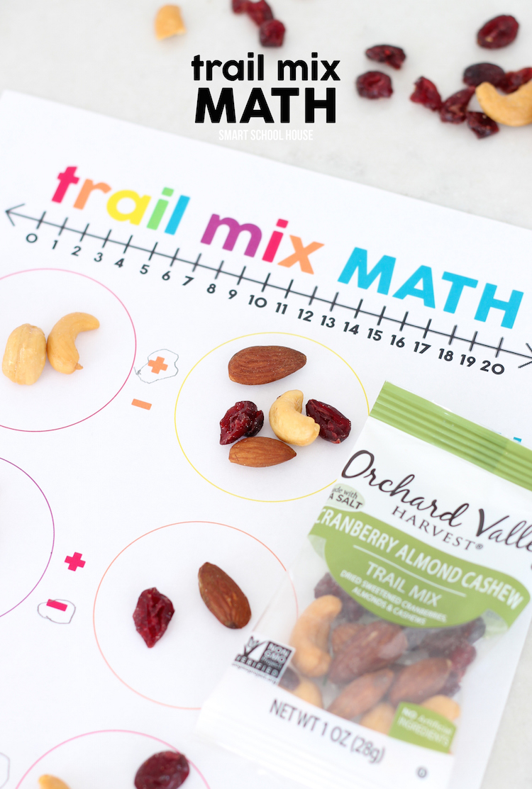 Trail Mix Math - turn trail mix into fun math activities or use this idea at school with the free math worksheet