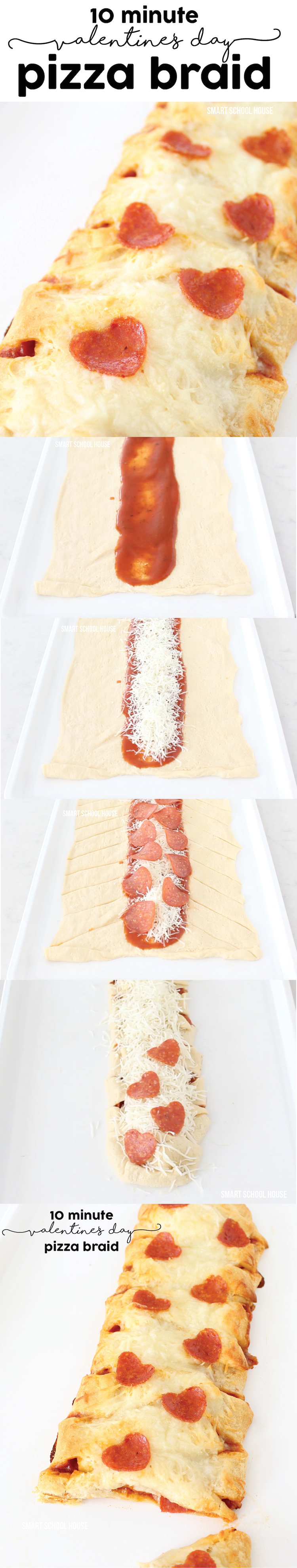 How to make a Valentine's Day Pizza Braid with heart pepperoni pieces - so easy! Must try.