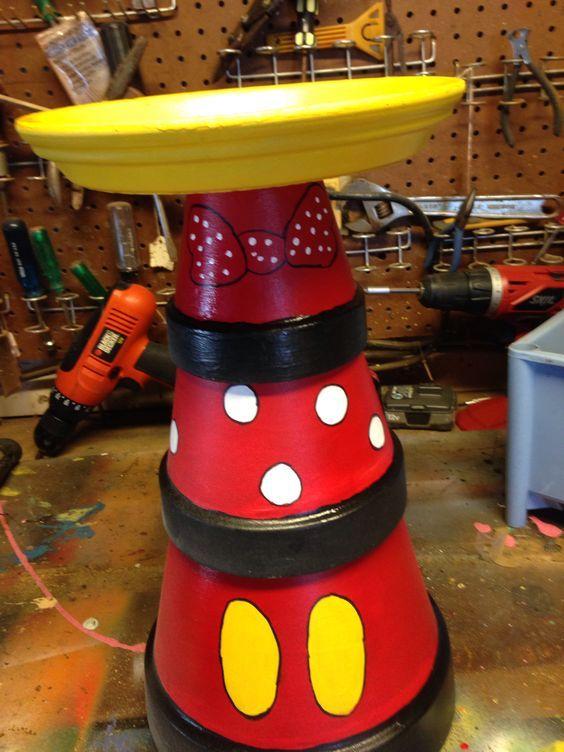 Disney themed terra cotta pot bird bath