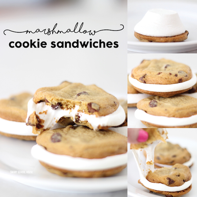marshmallow cookie sandwiches - softy gooey marshmallows in between 2 warm chocolate chip cookies.