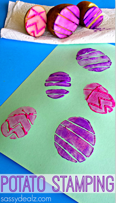 Easter egg potato stamps. Great idea!