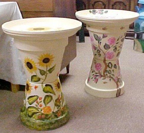 Painted flower pot bird bath