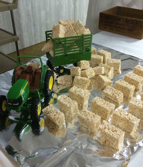 Tractor carrying rice krispie treats. Cute idea!