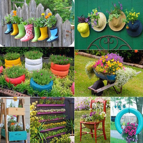 Look at all of the different planters you can make with old, broken, or unused items. Beautiful and creative!