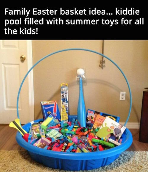 A family Easter basket idea - neat! Fill up a plastic pool with a bunch of stuff and use a hula hoop to make it look like a real basket.