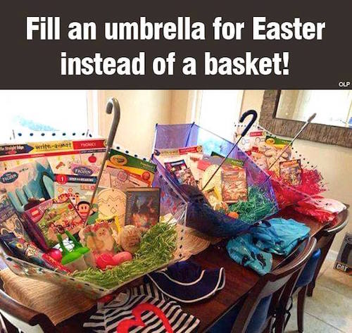April showers bring May flowers! That's why I think these umbrella Easter baskets are brilliant! Must try -