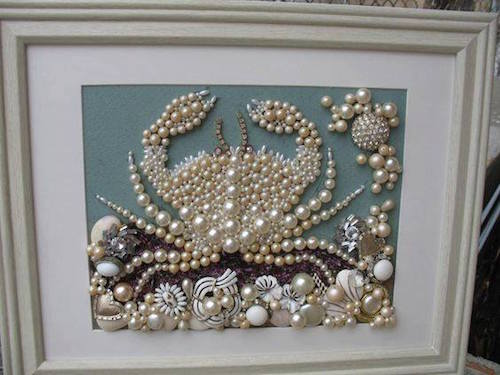 Have a broken necklace or fashion jewelry that you no longer wear? Turn the jewels into artwork! This is so beautiful.
