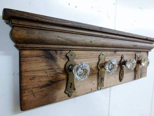 Use old knobs to make a beautiful coat rack - great idea!