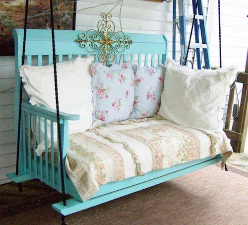 This is a DIY porch swing made from an old crib. Neat!