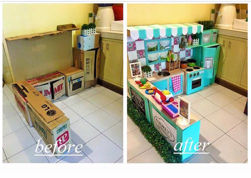 Use a bunch of cardboard boxes to create an insanely cute play kitchen for kids! WOW - definitely saving this idea.