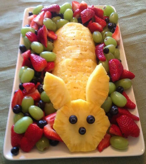 Pineapple Easter fruit tray. Easy enough! Healthy too -