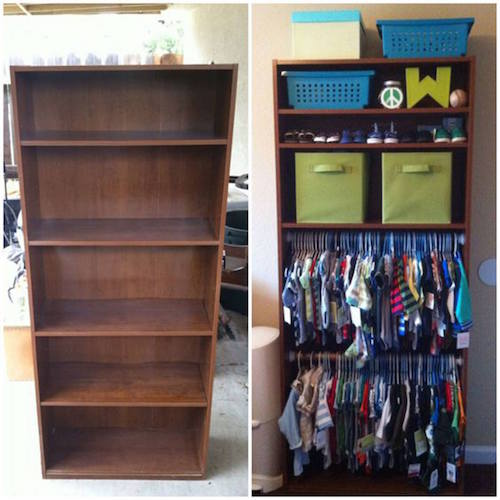 Turn a bookcase into a baby closet. Good idea!