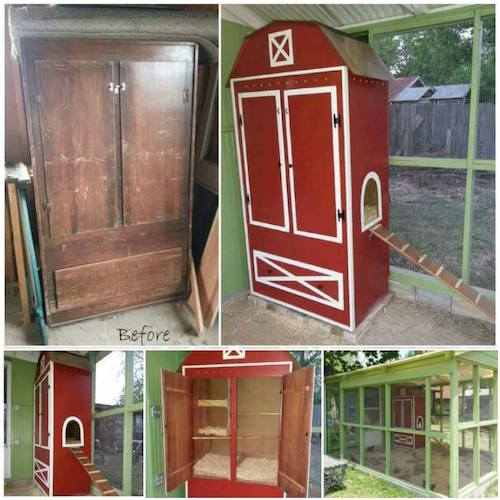 Turn an old armoire into a chicken coop - great idea!