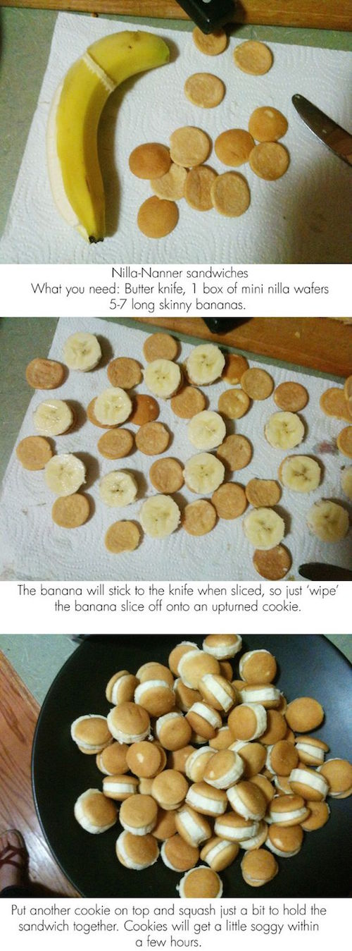 These look fun to make AND to eat! Simply slice bananas (as pictured) and the stickiness of the banana slices will hold the mini nilla wafters on. Must try!