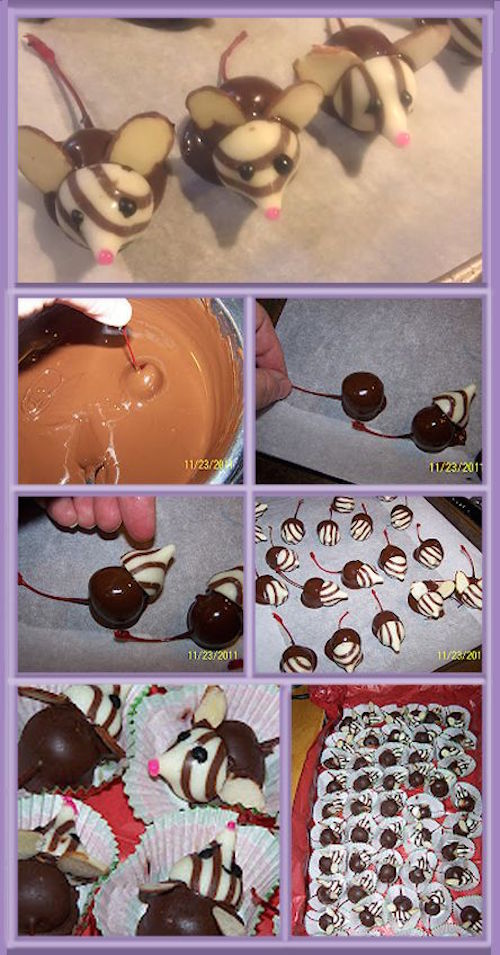 Little chocolate mice - so cute! Made with chocolate dipped cherries, Hershey's kisses, and sliced almonds.