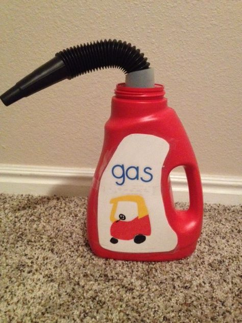 DIY cozy coupe gas can. Use an empty wisk bottle to make this adorable accessory for you kid's bike, car, or cozy coupe.