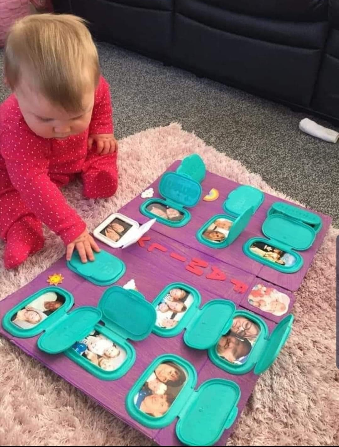 DIY Photo Board Using Baby Wipe Lids
