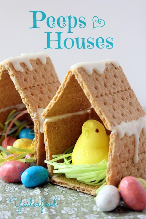 Graham cracker Peeps Houses - must try! What a fun Easter activity for kids.