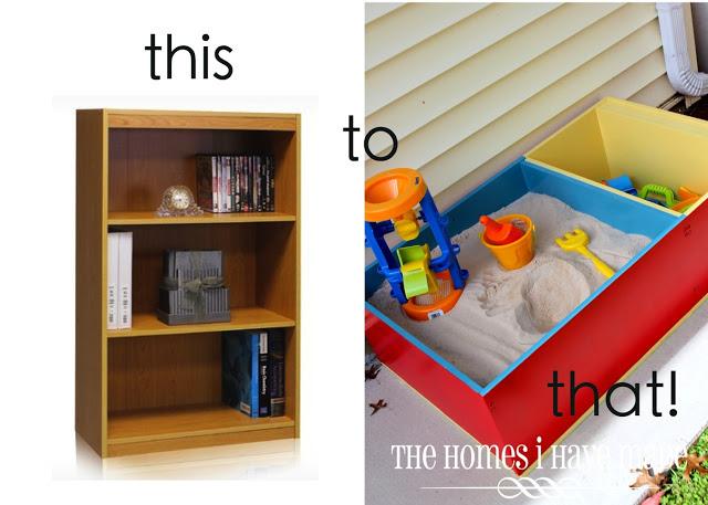 Turn a bookshelf into a sandbox. Great idea!