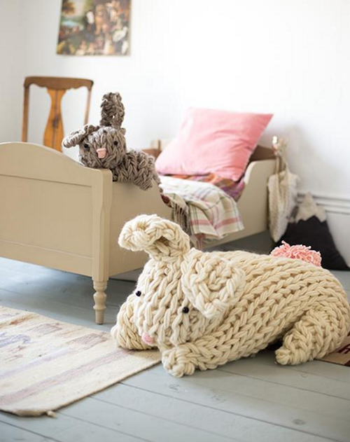 GIANT arm knit bunny - I love this!