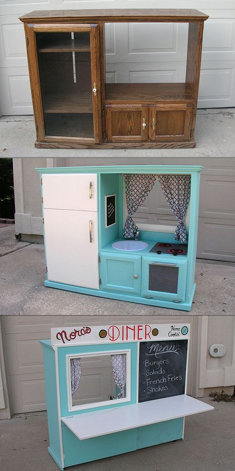 Turn an old cabinet into a kid's diner! What a fun idea -