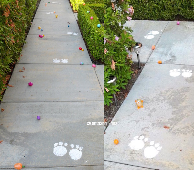 Easter Bunny Trail - using flour and and an aluminum pan!