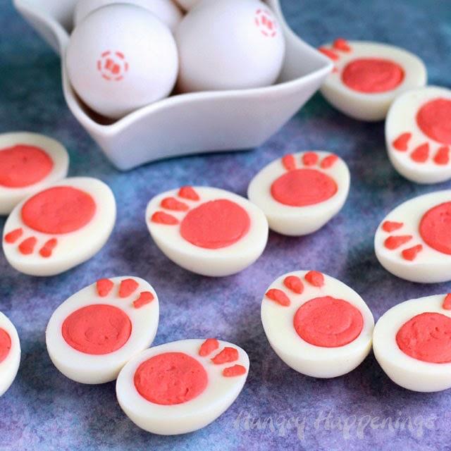 Bunny feet deviled eggs - I love this!