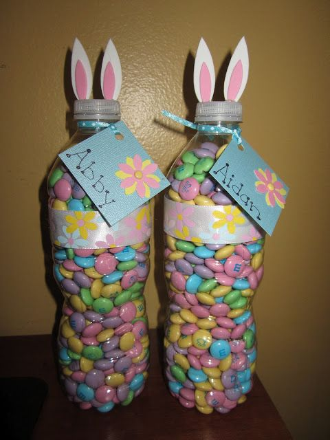 Sterilize a simple water bottle and turn it into an M&M gift like this! How cute for Easter.