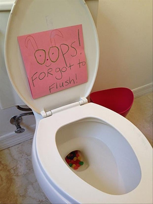 Easter Bunny prank! Put jelly beans in the toilet - kids love this!